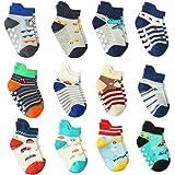 Wobon 12 Pares de Calcetines para Niño Antideslizantes Bebé Calcetines Algodón, Calcetines Antideslizantes para Niños Pequeño