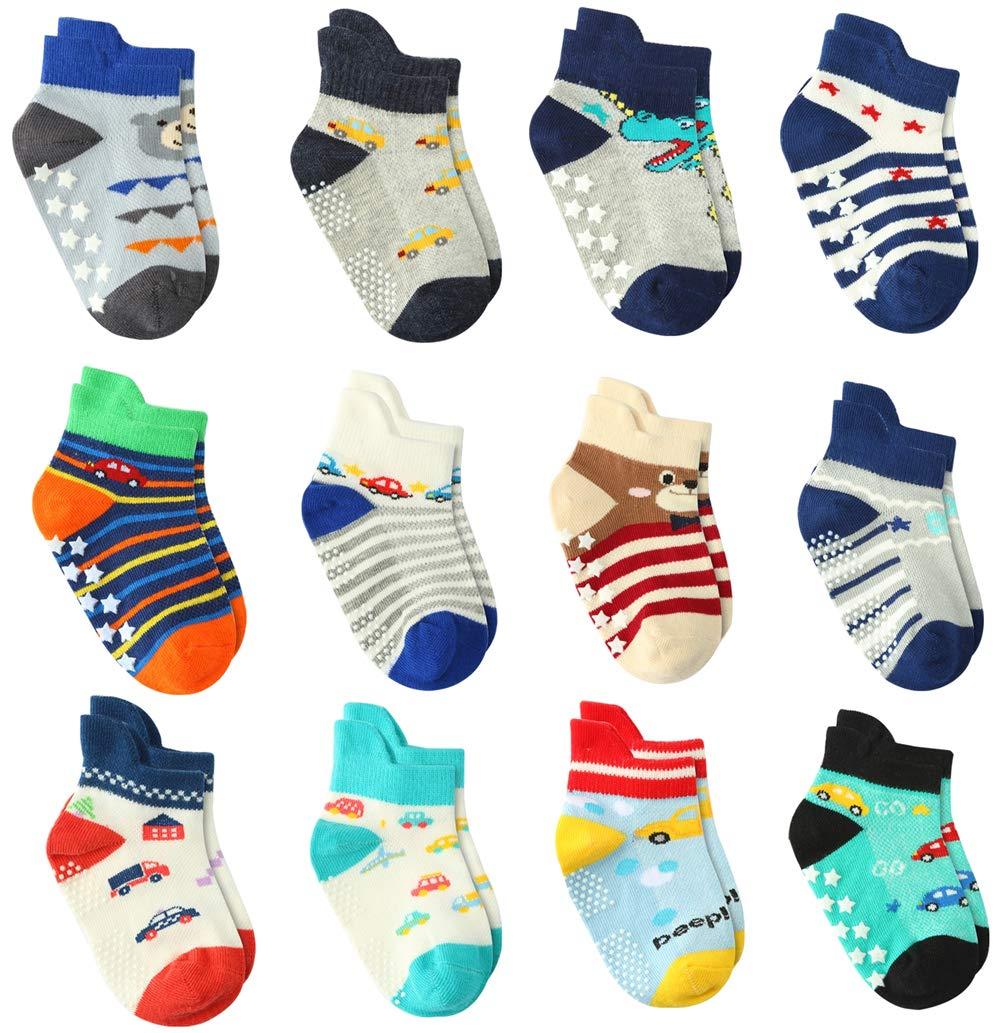 Wobon 12 Pares de Calcetines para Niño Antideslizantes Bebé Calcetines Algodón, Calcetines Antideslizantes para Niños… 1