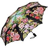 VON LILIENFELD Regenschirm Taschenschirm Stabil Leicht Auf-Zu Automatik Windfest Damen Floral Rosa Blumen Rosengarten