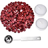 Jieddey Kit de Cire pour Xceau,240 PCS Perles de Cire à Cacheter PCS+2 Bougie de Thé Blanc+1 Cachetage d'octogone de Cuillère