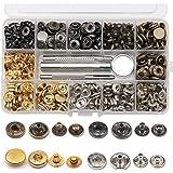 Ailiver Set van 120 metalen drukknopen, drukknopen, leren drukknopen voor reparatie, jassen, 4 kleuren, 12,5 mm diameter