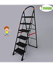 FLIPZON Premium Heavy Foldable Cameo 6 Steps Ladder with Wide Steps & Anti-Skid Shoes (Make in India) - Black