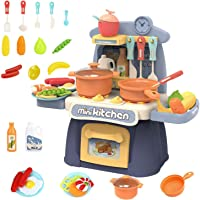 PULSBERY 26 Piece Kitchen Play Set with Lights & Sound for Girls, Big Size Remote Control Kitchen Toy Set for Kids Girls…