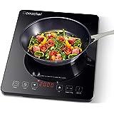 Plaque Induction Portable AMZCHEF, plaque de cuisson à induction de 2000 W avec corps mince, 10 niveaux de puissance, 10 régl