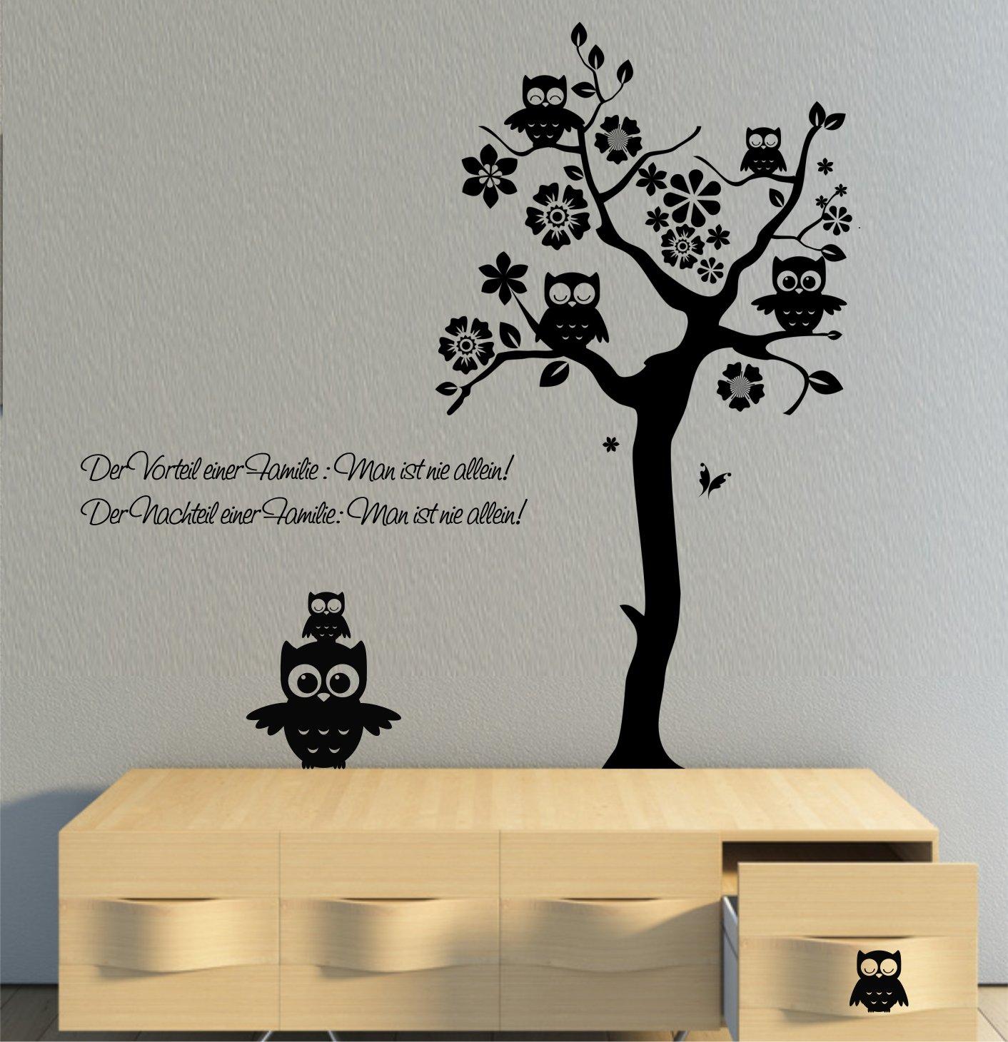 Greenluup ökologisches Wandtattoo Eulen Baum Spruch Familie Ast Zweig  Blüten Schmetterlinge: Amazon.de: Küche U0026 Haushalt