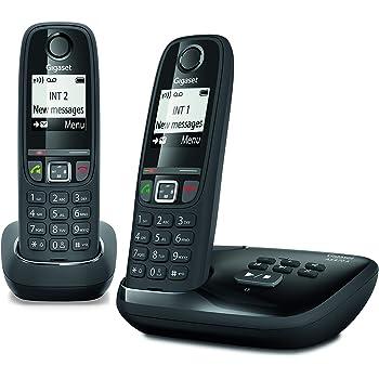 Gigaset AS470A Duo - Téléphone fixe sans fil - Répondeur - 2 combinés - Noir 3140e95b8ef5