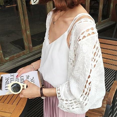 Blanc Blouse Tunique Shirt Top Chemise Longue 3/4 Manches Cardigan Dentelle  Courte: Amazon.fr: Vêtements et accessoires