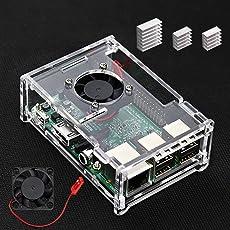 VSTON Case Per Raspberry Pi 3 B+ Con Ventola e 3 PCS Dissipatori per Raspberry pi 3 Modello B +/Pi 3 Modello B/Pi 3/Pi 2/Pi 2B Cancella