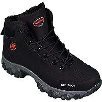 Jagulep Chaussures de randonnée pour homme antidérapantes avec grip et semelle thermique, chaussures d'hiver doublées et…