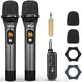 VeGue Microphone sans fil UHF avec récepteur rechargeable pour karaoké, amplificateur de voix, système de sonorisation sonore