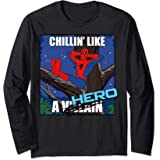 Marvel Spider-Man Chillin' Like A Hero Cross Out Portrait Manche Longue