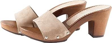 Silfer Shoes - Zoccolo in Pelle Scamosciata, Colore Cipria, Art. Noemi - Ideale Anche per Stare in casa