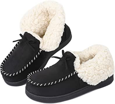 LongBay Ladies' Moccasin Slippers Suedette with Warm Plush Lined Memory Foam Women House Slipper Boots