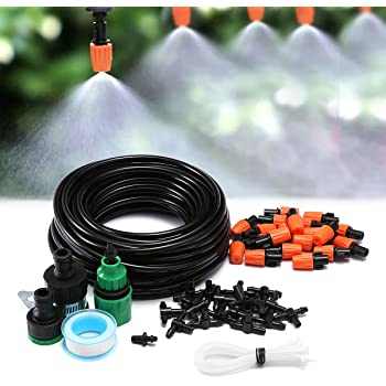 KING DO WAY Kits d'irrigation, Système d'Arrosage Multifonction DIY Pour Irrigation Arrosage Brumisation Goutte À Goutte Jardin Serre (15 Mètres Tuyau Avec 20 Micro Buses De Gicleurs)