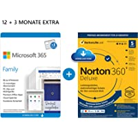Microsoft 365 Family 12+3 Monate   6 Nutzer   Mehrere PCs/Macs, Tablets & mobile Geräte   Download Code + NORTON 360…