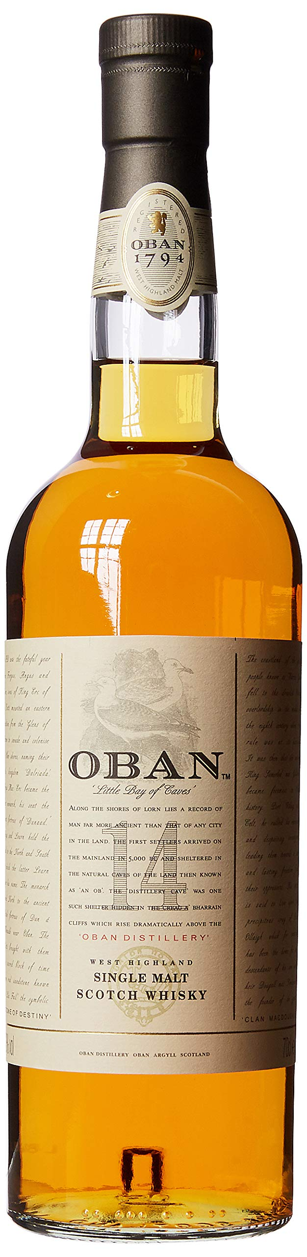 Oban 14 Year Old – Single Malt Scotch Whisky – From the shores of Highland – Scotch with smoky taste and hints of orange – 70cl