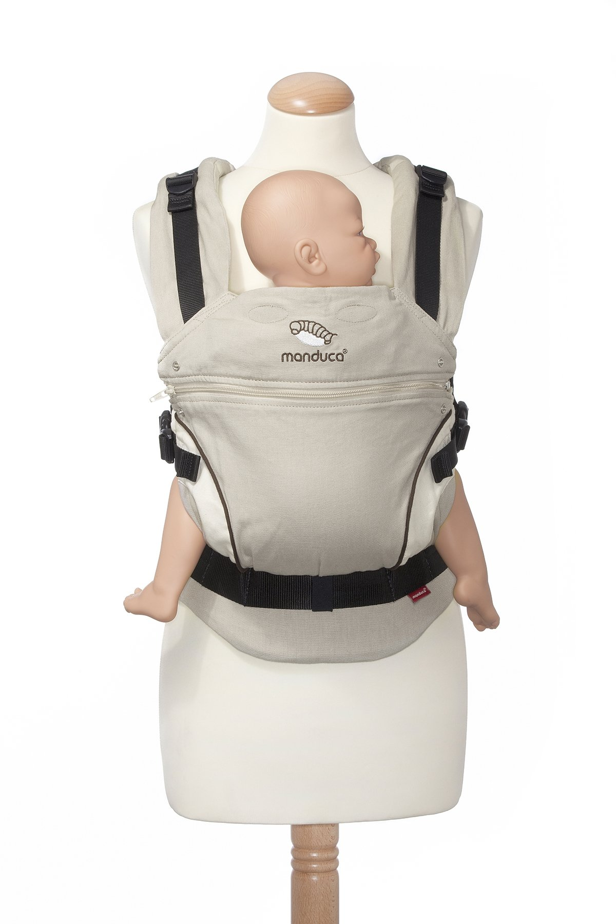 manduca First Baby Carrier > HempCotton Sand < Ergonomic Baby Carrier, Soft & Sturdy Canvas (Organic Cotton & Hemp), Front Carry, Hip Seat and Back Carry, from Newborn to Toddlers up to 20kg, Beige Manduca New features: Improved three-point-buckle (secure & easy to open); extra soft canvas made of 45% hemp and 55% organic cotton (outside), 100% organic cotton lining (inside) Already integrated in every baby carrier: infant pouch (newborn insert), stowable headrest & sun protection for your baby, patented back extension (grows with your child); Optional accessories for newborns: Size-It (seat reducer) and Zip-In Ellipse Ergonomic design for men & women: Soft padded shoulder straps (multiple adjustable) & anatomically shaped stable hipbelt (fits hips from 64cm to 140cm) ensure balanced weight distribution. No waist-belt extension needed 5