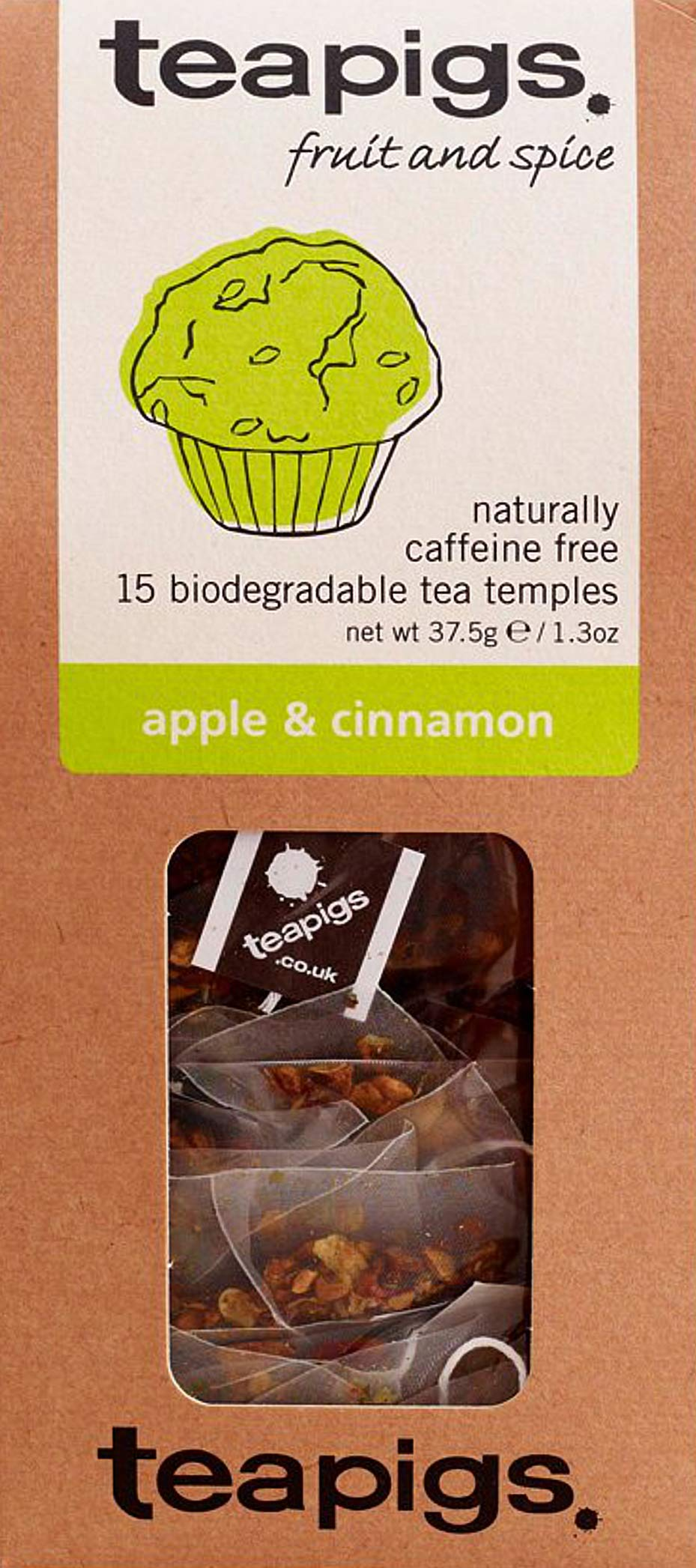 Teapigs apple and cinnamon tea bundle (infusions) (3 packs of 15 bags) (45 bags) (a fruity, spicy tea with aromas of apple, cinnamon) (brews in 3 minutes)