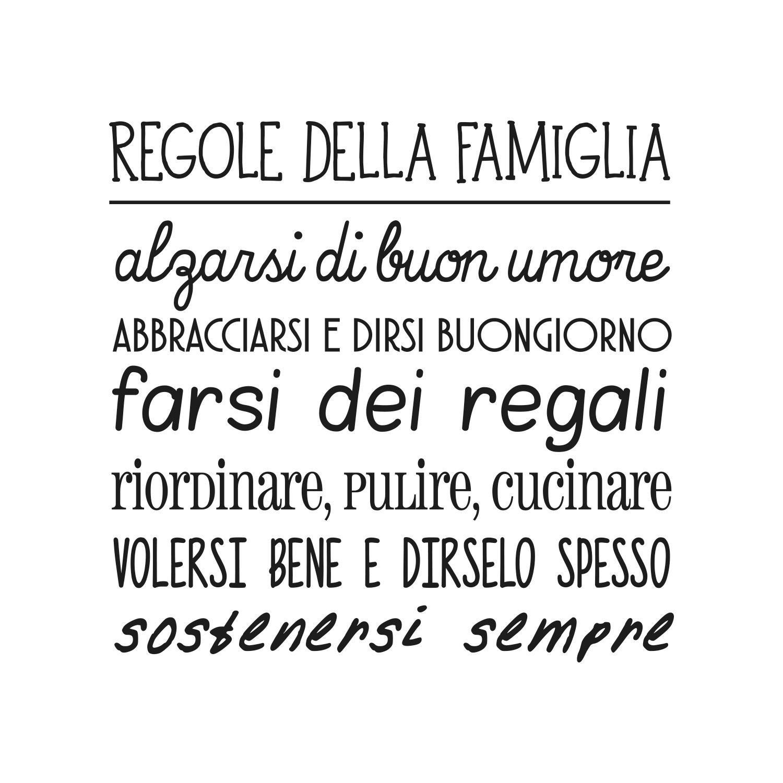 """Eccezionale Adesiviamo® """"Regole della Famiglia"""" Wall Sticker Adesivo da Muro  MI26"""