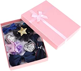 10Pcs Bowknot Hair Clips, Sweet Hairpins Barrette Hair Accessories with Storage Gift Box for Baby Girls Princess (Navy Blue)