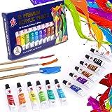 TBC The Best Crafts Set di 12 colori acrilici Premium Acrylic Paint pro 12 ml con 3 pennelli per bambini, adulti, ragazze, ra