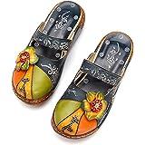 gracosy Pantofola in Pelle Scarpe da Donna Estivi Mocassini Sandali Piatti Slip-On Estiva Slipper di Oxford Vintage a Suola S