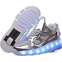 srder-USB Rechargeable Clignotante Chaussures à roulettes, 7 Colorés LED Roller Chaussures de Skateboard Baskets…