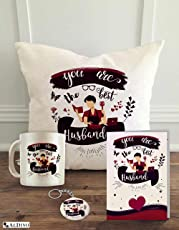 "ALDIVO Gift for Husband | Gift for Hubby | Gift for Best Husband | Combo Gift Pack (12"" x 12"" Cushion Cover with Filler + Printed Mug + Greeting Card + Printed Key Ring)"
