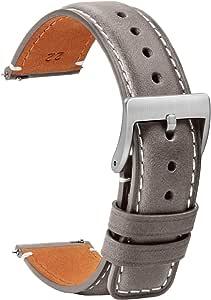 TStrap Orologi Cinturini Pelle 20mm - Sostituzione Cinturino Morbido Nero a Sgancio Rapido - Cinturino Sportivo per Uomo Donna - Cinturino Orologi Intelligenti Fibbia - 18mm 20mm 22mm