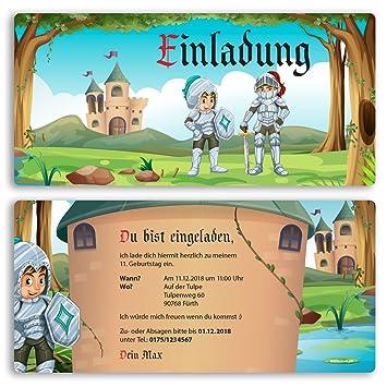Einladungskarten Kindergeburtstag (15 Stück) Ritter Schloss Kinder Jungen  Mädchen Einladung Einschulung Schulanfang Party Feier Geburtstag Karte  Gestalten ...