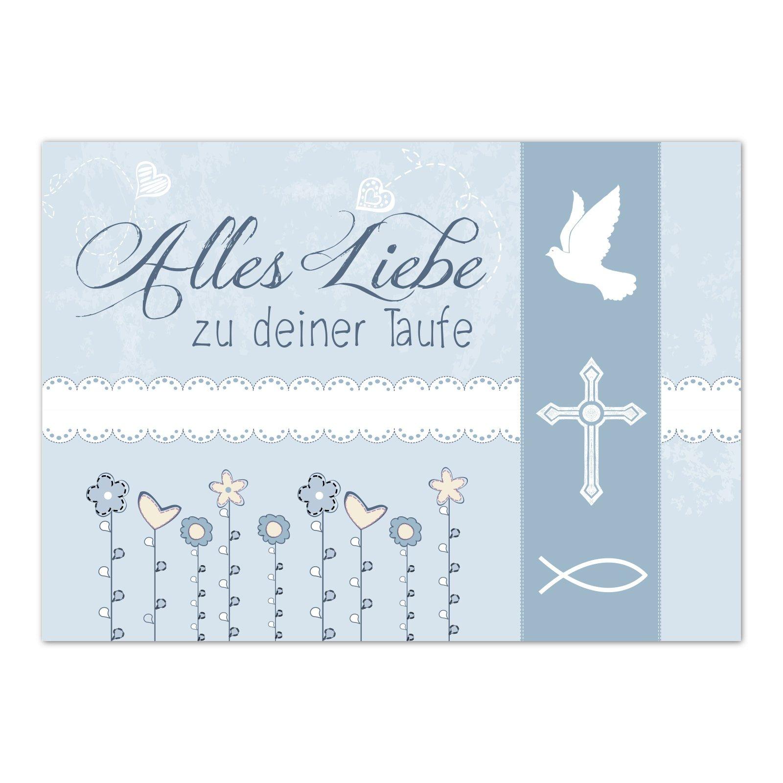 Taufe Karte Schreiben.Glückwunschkarte Taufe Mit Umschlag Moderne Vintage Karte Blau