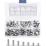 150 stuks bindschroefkit, metalen ronde kop Chicago-bevestigingsschroeven voor DIY lederdecoratie boekbinden - 5 mm x (6/8/10