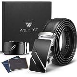 Wilbest Cintura da uomo in pelle 3.5 * 110-130cm. Cintura a cricchetto in pelle da uomo con due fibbie automatiche in lega di