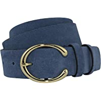 Sara Milano - Cintura da donna in vera pelle dorata con fibbia a ferro di cavallo, 100% Made in Italy Cintura in pelle…
