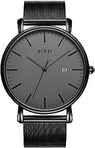 BUREI Uomo Orologio da Polso al Quarzo Classico con Cassa Ultra Sottile Design Minimalista Quadrante Analogico Data Finestra