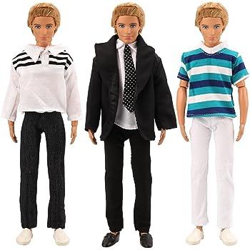 Miunana Fatti A Mano 3 PCS Clothes Vestiti Abiti (Capi E Pantaloni) Per  Fidanzato Di Barbie Bambola Ken ( Abito Nero + Outfit Floreale + Outfit A  Strisce) 756d03d4cdc
