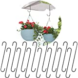 Leafy Tales 10 inch Large S Hooks, Black Heavy Duty for Indoor and Outdoor Use, Pack of 15