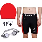 THE MORNING PLAY Men Swimming Costume Free Size (28in-34in) Goggles Cap 2 EARPLUG Nose Clip Swimsuit Swimming Kit