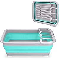 Navaris Bac pliable en plastique - Bassine rétractable avec bouchon pour évacuation de l'eau - Panier vaisselle linge…