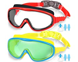 EasYoung 2-Pack Kids Swim Goggles, Swimming Goggles for Children and Early Teens from 3 to 15 Years Old, Wide Vision, Anti-Fo