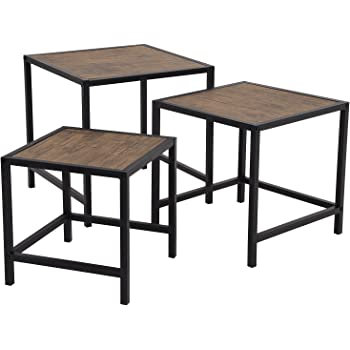 SONGMICS Beistelltisch 3er Set, Kaffeetisch, Nachttisch, Metallrahmen, In  Holzoptik, Industriedesign, Vintage Tische Für Wohnzimmer, Küche,  Schlafzimmer, ...