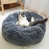 Decdeal Husdjurssäng för katter och hundar, rund, plysch, hundsäng, kattsäng i munkform, valfri färg och storlek