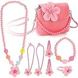 Hifot Kinderschmuck Kleine Mädchen Plüsch-Handtasche Halskette Armband Ring Haar Klammern Einstellen Set, Modeschmuck Party F