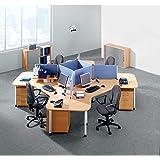 Hammerbacher CALL-TEAM Querrollladenschrank - je 2 Fachböden, 1 Trennwand - Dekor Buche   V1733S/6/S/SG - Aktenschrank Beistellschrank Büroschrank CALL TEAM Büromöbelprogramm CONTACT Büromöbelprogramm FINO Büromöbelprogramm Mehrzweckschrank