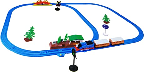 Emob 111 cm Long Cartoon Character Train 36 Pcs Battery Operated Track Set Toy with Railway Station