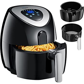 Tidylife Friteuse électrique sans huile(AF-11A), Friteuse automatique à air chaud, écran tactile LED, multifonction 8-en-1,bac 3.2L 1500W, avec livre de recettes, noir (3.2L)