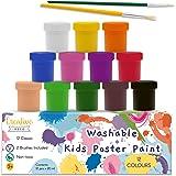 Creative Deco Temperas para Niños Lavable Pintura Dedos Bebes | 12 x 20 ml Botes | No Tóxica | Colores Básicos Intensos Princ