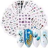 Adesivi Floreali per Nail Art, Kapmore 24PCS Decalcomanie Fai da Te con Trasferimento ad acqua per la Cura Delle Unghie