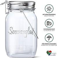 SONNENGLAS Originale, Lanterna solare LED in Barattolo da Conserva, lampada da tavolo (con USB), Commercio equo e...