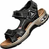 GILKUO Men's Sandals Leather Spring Summer Open Toe Outdoor Sandals